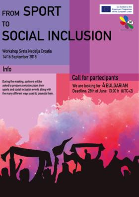 "Workshop ""Sport as a tool to promote social inclusion"", Sveta Nedelja, Croatia (CLOSED)"